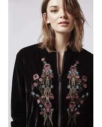 TOPSHOP | Black Velvet Embroidered Bomber Jacket | Lyst