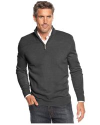 Geoffrey Beene | Gray Big And Tall Solid Ribbed Quarter-zip Sweater for Men | Lyst