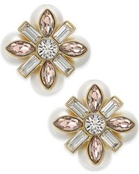 kate spade new york - Metallic 14k Gold-plated Imitation Pearl And Crystal Stud Earrings - Lyst