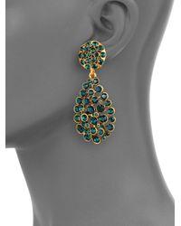 Oscar de la Renta | Green Pave Crystal Teardrop Earrings | Lyst