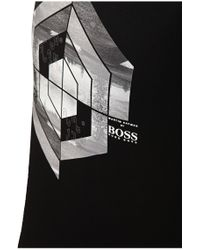 BOSS Green | Black T-shirt 'tee Mk' With A Round Neckline for Men | Lyst