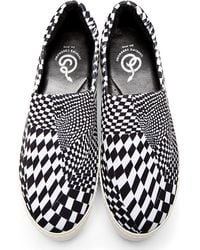 Opening Ceremony - Black and White Checkered Slip_on Platform Sneakers - Lyst