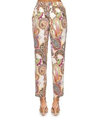 Etro - Multicolor Paisley-print Silk Trousers - Lyst