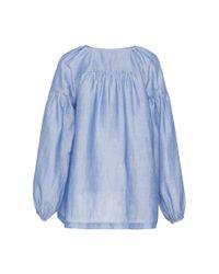 Co. - Blue Gathered Sleeve Japanese Ramie Top - Lyst