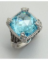 Judith Ripka - Blue Topaz and White Sapphire Cocktail Ring - Lyst