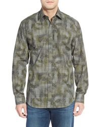Bugatchi | Gray Shaped Fit Long Sleeve Sport Shirt for Men | Lyst