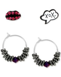 Betsey Johnson | Purple Hug And Kiss And Beaded Hoop Earring Set | Lyst