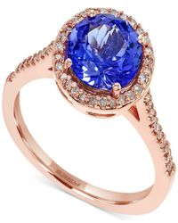 Effy Collection - Metallic Effy Tanzanite (1-9/10 Ct. T.w.) And Diamond (1/5 Ct. T.w.) Round Ring In 14k Rose Gold - Lyst