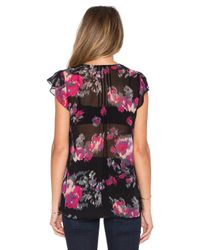 Joie - Black Macy B Floral-Print Silk Blouse - Lyst