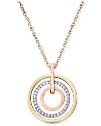 Michael Kors | Metallic Tri-Tone Circle Pendant Necklace | Lyst