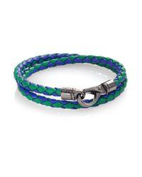 Tod's | Green Braided Leather Bracelet for Men | Lyst