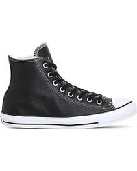 Converse - Black Allstar High-top Leather Trainers - Lyst