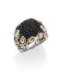 John Hardy - Naga Black Sapphire 18k Yellow Gold  Sterling Silver Twist Ring - Lyst