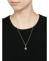 Eddie Borgo | Metallic Crystal Pavé Rose Bud Pendant Necklace | Lyst