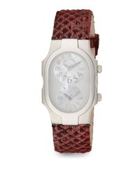Philip Stein | Pink Signature Mother-Of-Pearl, Stainless Steel & Snake-Embossed Leather Dual Time Zone Watch | Lyst