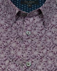 Ted Baker - Purple Floral Print Shirt for Men - Lyst