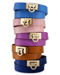 Ferragamo - Brown Gancini Double Wrap Leather Bracelet for Men - Lyst