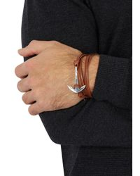 Miansai - Brown Anchor Leather Wrap Bracelet for Men - Lyst