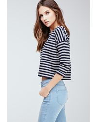 Forever 21 - Blue Striped Boat Neck Top - Lyst