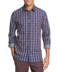Ted Baker | Purple 'bronor' Slim Fit Check Sport Shirt for Men | Lyst