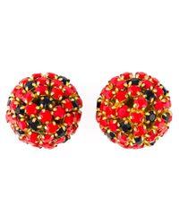 Nina Ricci   Black Crystal Cluster Clip-on Earrings   Lyst