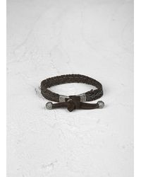John Varvatos | Brown Braided Leather Bracelet with Silver Detail for Men | Lyst