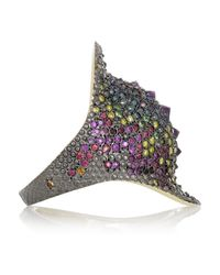 Venyx | Purple Chameleo 9-Karat Gold Multi-Stone Ring | Lyst