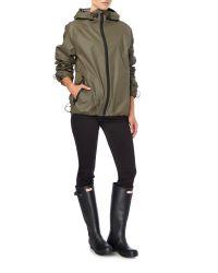 HUNTER - Green Rubber Zip Up Jacket - Lyst