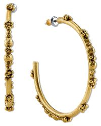 Tru. - Metallic Flower Bud Hoop Earrings - Lyst