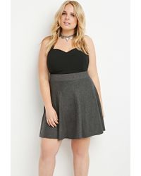Forever 21 - Gray Plus Size Heathered Sweater Skater Skirt - Lyst