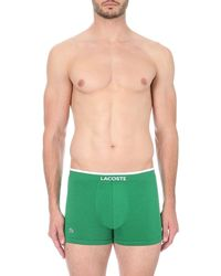 Lacoste - Pack Of Two Seamless Stretch-cotton Trunks, Men's, Size: Xl, Green for Men - Lyst