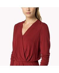 Tommy Hilfiger | Red Cotton Viscose Wrap Dress | Lyst