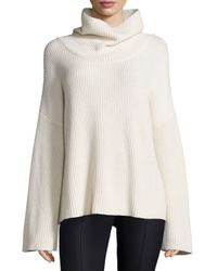 The Row - White Kaima Ribbed Knit Dolman-sleeve Turtleneck Sweater - Lyst