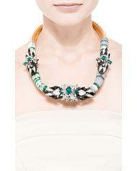 Shourouk | Mamba Silver Green Necklace | Lyst