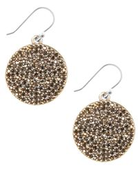 Lucky Brand   Metallic Gold-tone Pave Disk Earrings   Lyst