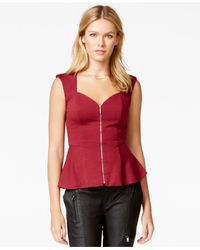 Guess | Zippered Lace-inset Peplum Top | Lyst