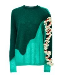 Delpozo Green Alpaca, Silk And Wool Ruffle Shouldered Mohair Knit