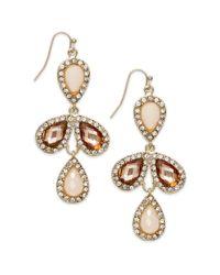 INC International Concepts - Metallic Goldtone Blush Teardrop and Pave Chandelier Earrings - Lyst