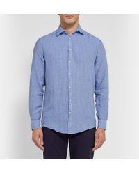 Massimo Alba | Blue Genova Garment-Dyed Striped Linen Shirt for Men | Lyst