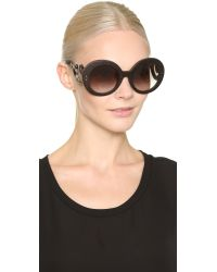 Prada - Black Wood Sunglasses - Nut Canaletto Havana/brown - Lyst