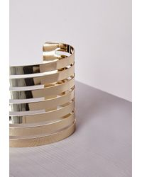 Missguided | Metallic Rounded Cut Out Cuff Gold | Lyst