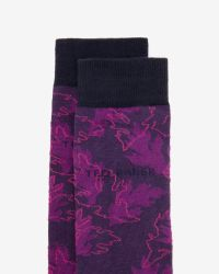 Ted Baker - Black Leaf Pattern Cotton Socks for Men - Lyst