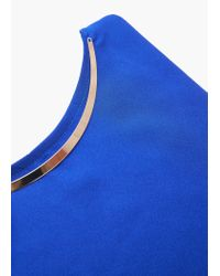 Mango | Blue Detail Neck T-shirt | Lyst
