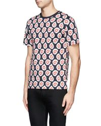 Maison Kitsuné - Pink Geometric Print T-shirt for Men - Lyst