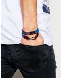 ASOS | Double Wrap Canvas Bracelet In Blue for Men | Lyst