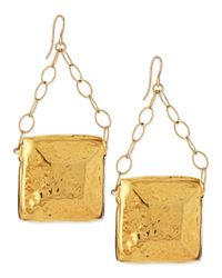 Devon Leigh | Metallic Gold-dipped Square Medallion Earrings | Lyst