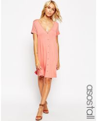 ASOS | Pink Swing Dress With Button Front | Lyst
