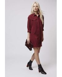 TOPSHOP | Purple Oversized Cupro Shirt-dress | Lyst