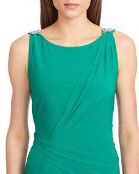 Ralph Lauren | Green Lauren Embellished Jersey Gown | Lyst
