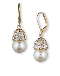Anne Klein | Metallic Glass Pearl And Glitz Goldtone Drop Earrings | Lyst